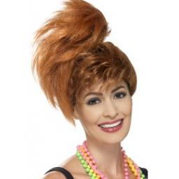 80s Side Ponytail Wig with Fringe Auburn