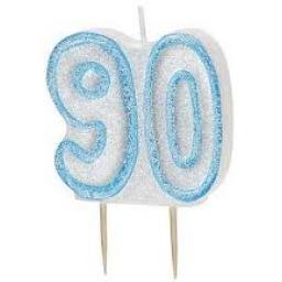 Glitz Blue Numeral 90 Candle