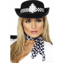 POLICE-WOMANS HAT BLACK FELT CHECK BAND