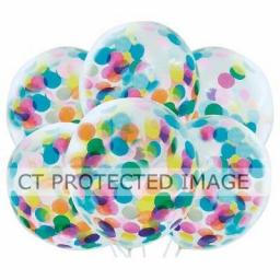 6 Multi Colour Confetti Balloons 12 inch