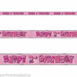 Pink Glitz Happy 2 nd Birthday Banner 3.6M