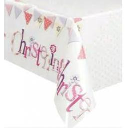 Pink Bunting Christening Plastic Table cover 54x84