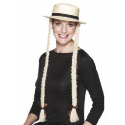 SCHOOLGIRL BOATER WITH BLONDE PLAITS HCD