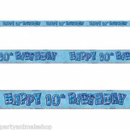 Blue Prizmatic H 10th Birthday Banner 3.6m