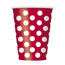 Red Polka Dot Paper Party Cups x 6pcs 355ml