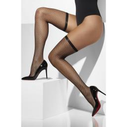 Fever Fishnet Hold Ups Black
