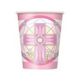 Sacred Cross Pink Party Paper Cups 8pcs 9 oz