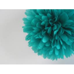 Puff Ball Paper Decoration 16 inch Teal