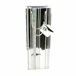 Silver Glitter Stripe Wine Bag