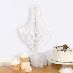Honeycomb Paper Chandalier Decoration White 14 inc