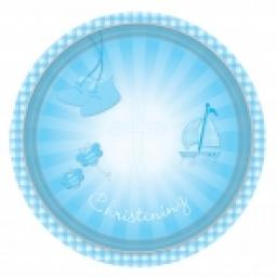 Christening Blue Booties Paper Plates 23cm 8pcs
