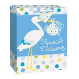 Baby Boy Stork Gift Bag Large