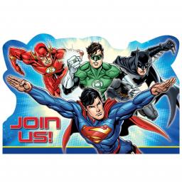 Justice League Postcard Invitations 8 set with 8 seals,8 save the date stickers & envelopes