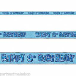 Blue Prizmatic H 8th Birthday Banner 3.6m