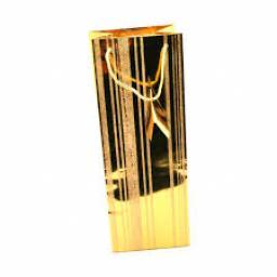 Gold Glitter Stripe Wine Bag