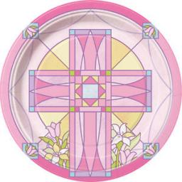 Sacred Cross Pink Paper Plates 8pcs 7 inch