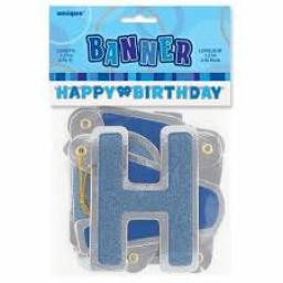 Blue Glitz Happy Birthday Letter Banner 1.27m