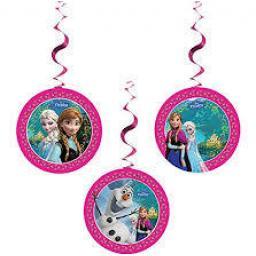 Disney Frozen Party Hanging Swirl Decorations x 3