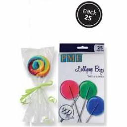 PME Clear Cake Pop Bags 25 with Silver Ties