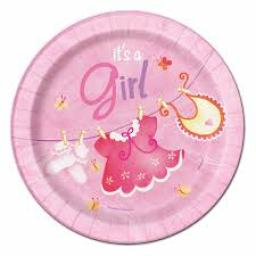Pink Clothesline Baby Shower Paper Plates 8ct 17cm