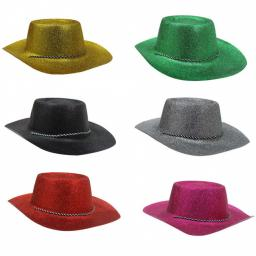 Glitter Cowboy Hat with String Various Colours
