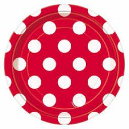 Round Plates 7inch 8ct Ruby Red Dots