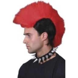 MOHAWK WIG BLACK/NEON RED DISPLAY BOX