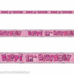 Pink Glitz Happy 12th Birthday Banner 3.6m