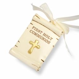 Resin Scroll Ivory/Gold Holy Comm Bible