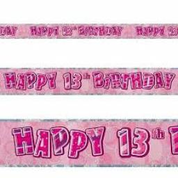 Happy 13th Birthday Prismatic Banner 3.6m Pink