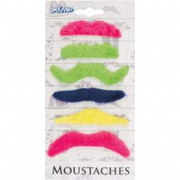 Moustaches Self Adhesive Multi Colour Set of 6