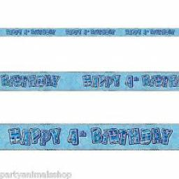 Blue Prizmatic H 4th Birthday Banner 3.6m
