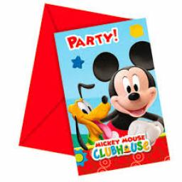 Mickei Mouse 6 Party Invitations