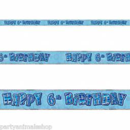 Blue Prizmatic H 6th Birthday Banner 3.6m