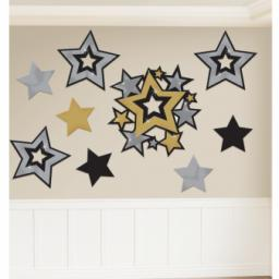 30 Pcs Star Hollywood Cutout Assortment Gld Sil Bl