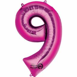 "Number 9 Pink SuperShape Foil Balloon - 23""/58cm w x 35""/88cm"