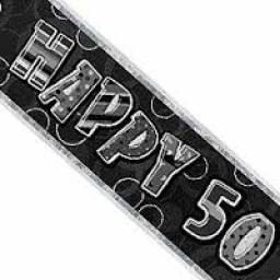 Happy 50th Birthday Black Glitz Banner 3.6m Long