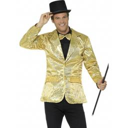Sequin Jacket Mens Gold Medium Size