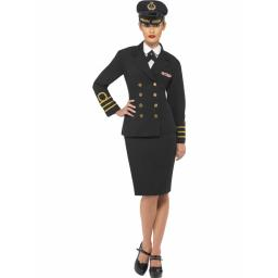 Navy Officer With Jacet Skirt Mock Shirt Hat