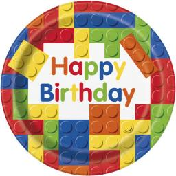 9 Inch Building Blocks Birthday Plates (pack quantity 8)