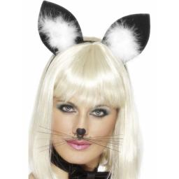 Cat Ears, Black, with Marabou Trim on Headband