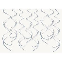 8 Plastic Swirls Silver Hanging Decoration