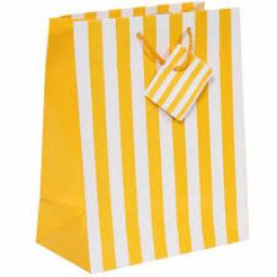 Yellow & White Striped Paper Gift Bag
