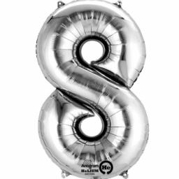 "Number 8 Silver SuperShape Foil Balloons 22""/55cm w x 35""/88cm"