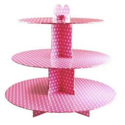 Three Tier Card Stand Pink Polka Dot