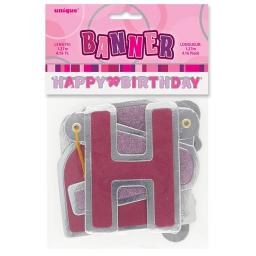 Pink Glitz Happy Birthday Letter Banner 1.27m
