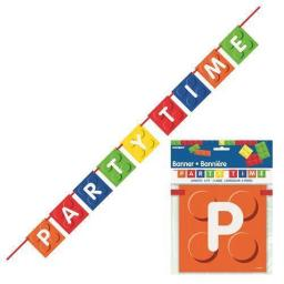 Building Blocks Birthday Banner Party Time 1.82m Long