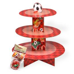 Football Cup Cake Kit Stand (24Pcs) Red