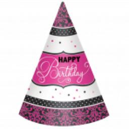 Black & Pink Happy Birthday Paper Cone Hats 12pcs