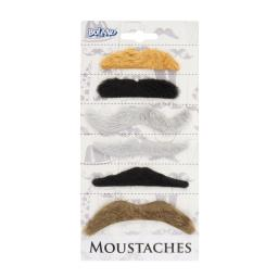 Moustaches Self Adhesive Assorted Colour Set of 6